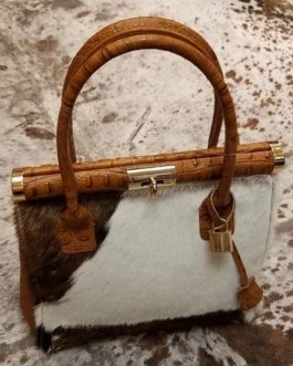 Charlie Leather Milana Small Handbag with Fur
