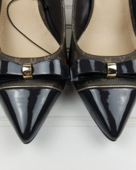 DKNY Brown Logo Bow Patent Pointy Toe Pumps